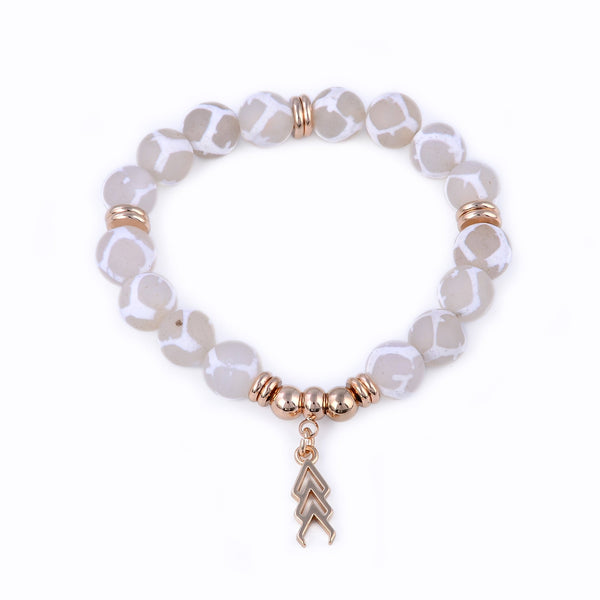 Beige and White Beaded Stretch Bracelet