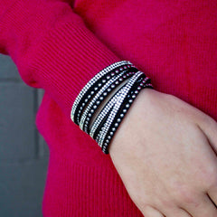 Black Suede Crystal and Stud Wrap Bracelet