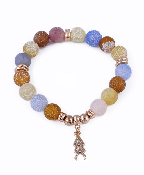 Mixed Color Natural Stone Beaded Stretch Bracelet