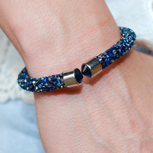 Blue and Gray Crystal Rock Cuff