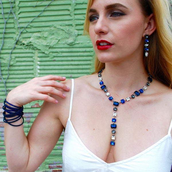 Blue Gemstone Y-Necklace and Earring Set