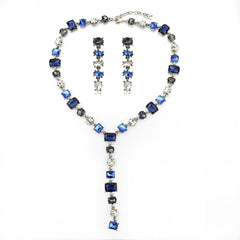 Blue Gemstone Y-Necklace Set | VaVaVoo Jewelry