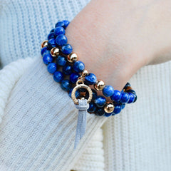 2 in 1 Blue Gemstone Stretch Bracelet and Necklace
