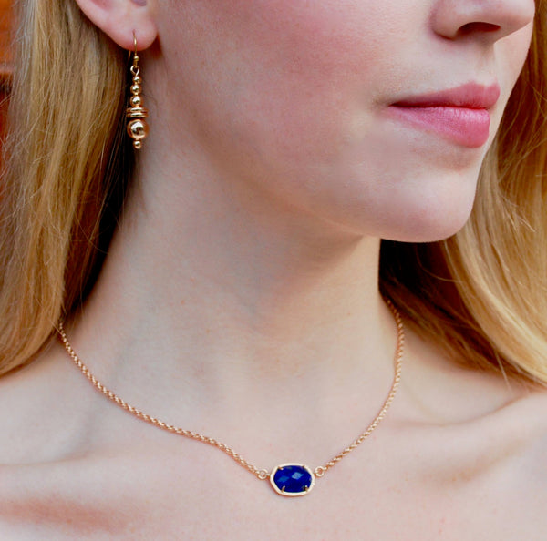 Pamela Blue Lapis Oval Pendant on Short 10k Gold Chain
