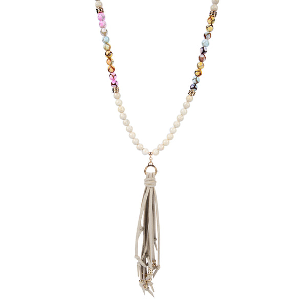 Fossil Stone, Pink Gemstone & Metal Tipped Suede Tassel Necklace