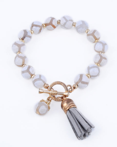 Cream and White Beaded Bracelet with Gray Suede tassel