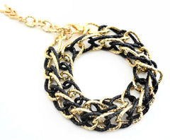 Black and Gold Chain Wrap Bracelet