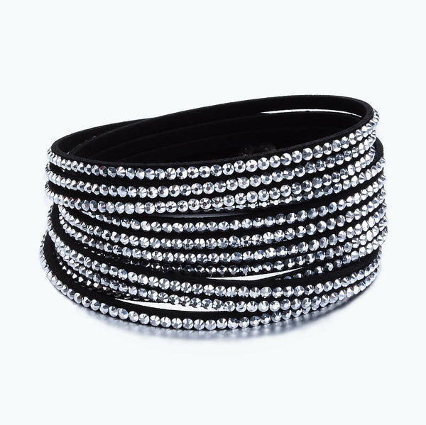 Black and Silver Crystal Wrap Bracelet