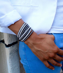 Silver Crystal and Stud Black Wrap Bracelet