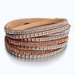 Blush Suede Wrap Bracelet with Mixed Crystals and Silver Studs
