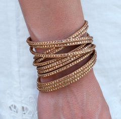 Champagne Suede and Crystal Wrap Bracelet