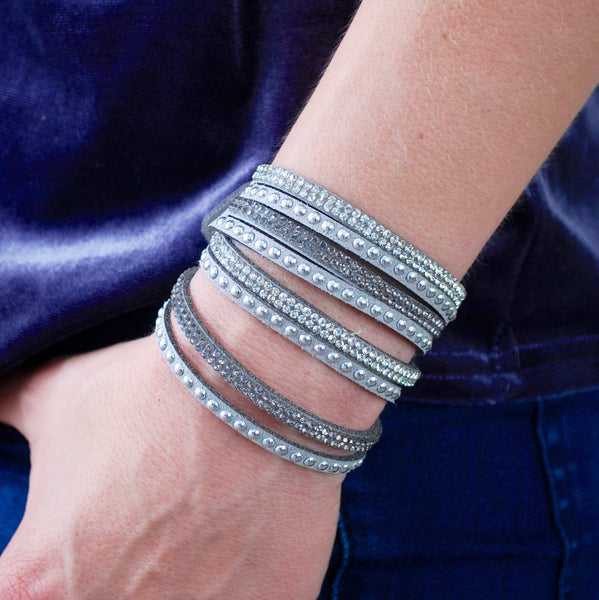 Gray Crystal and Stud Suede Wrap Bracelet