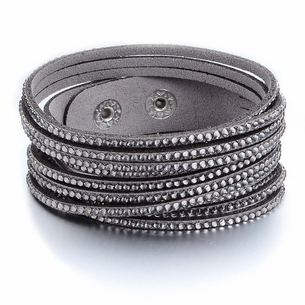 Gray Suede and Silver Crystal Wrap Bracelet