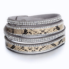 Gray Suede and Snakeskin Crystal Wrap Bracelet