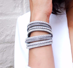 Gray Suede Crystal and Stud Wrap Bracelet
