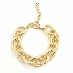 Hammered Gold Link Bracelet | VaVaVoo Jewelry