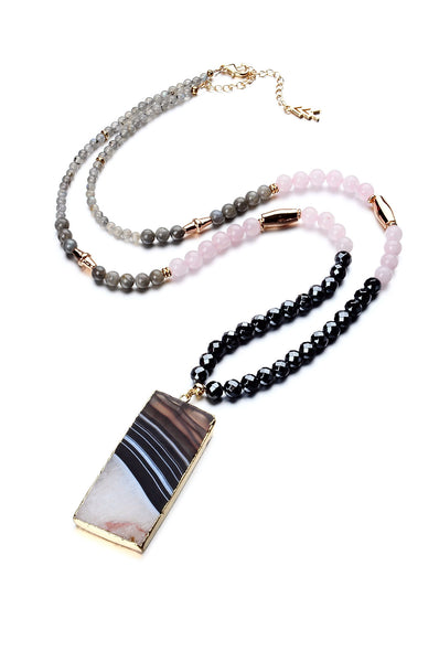 Limited Edition Mixed Gemstone Necklace with Striated Black Agate Pendant