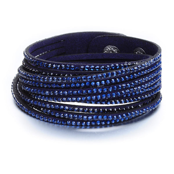 Navy Suede and Crystal Wrap Bracelet