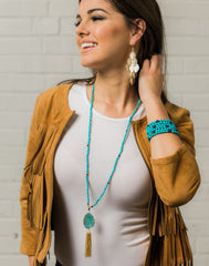 Turquoise and Lapis Beaded Tassle Necklace | VaVaVoo Jewelry