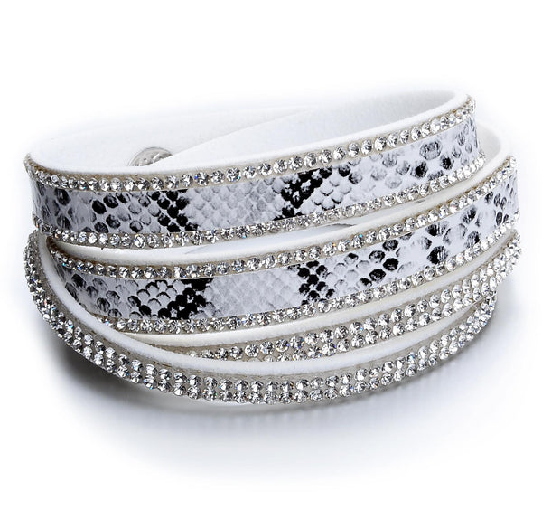 White Suede and Snakeskin Crystal Wrap Bracelet