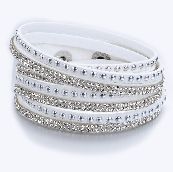 White Suede Crystal and Silver Stud Wrap Bracelet