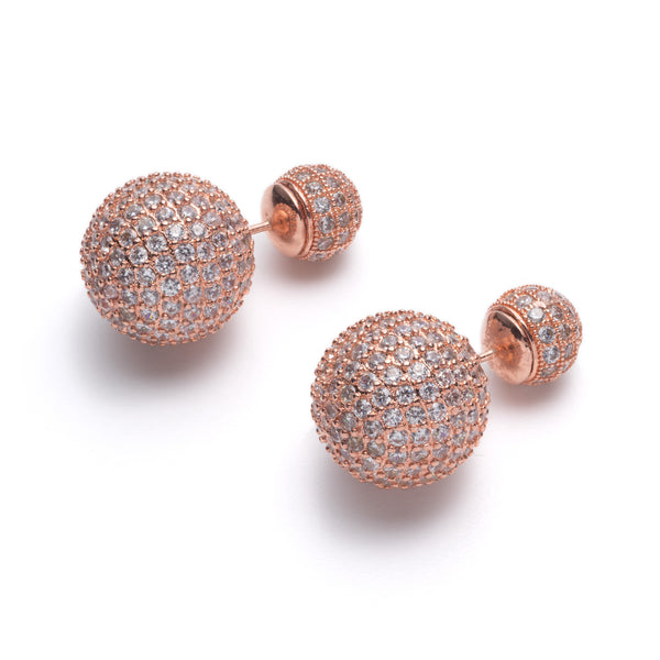Rose Gold Disco Ball Front-Back Earrings | VaVaVoo