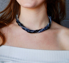 Midnight Black, Blue & Silver Crystal 3 in 1 Necklace