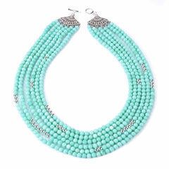 Mint Jade and Silver Beaded Necklace