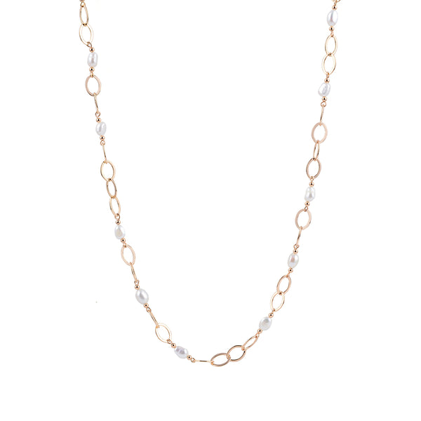 Freshwater Pearl and 12k Gold Chain Necklace