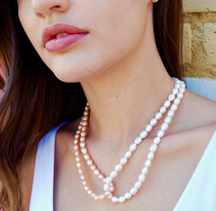 Pink and Cream Freshwater Pearl Lariat