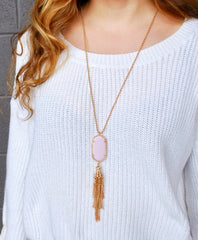 Pamela 10k Gold Tassel Necklace with Pale Pink Pendant