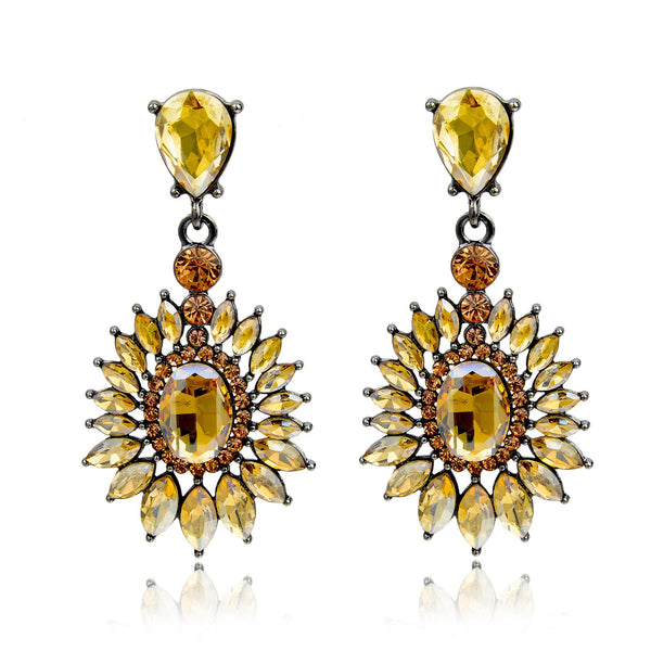 Sunburst Crystal Chandelier Earrings | VaVaVoo