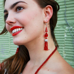 Ruby Red Deco Crystal Tassle Earrings