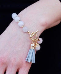 Rose Quartz Beaded Bracelet with Gray Suede tassel