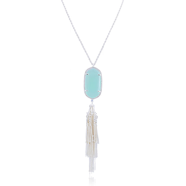 Pamela Silver Tassel Necklace with Sea Foam Pendant