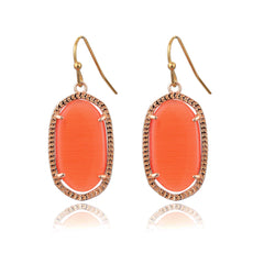 Small Gold Pamela Earrings in Coral Cat's Eye