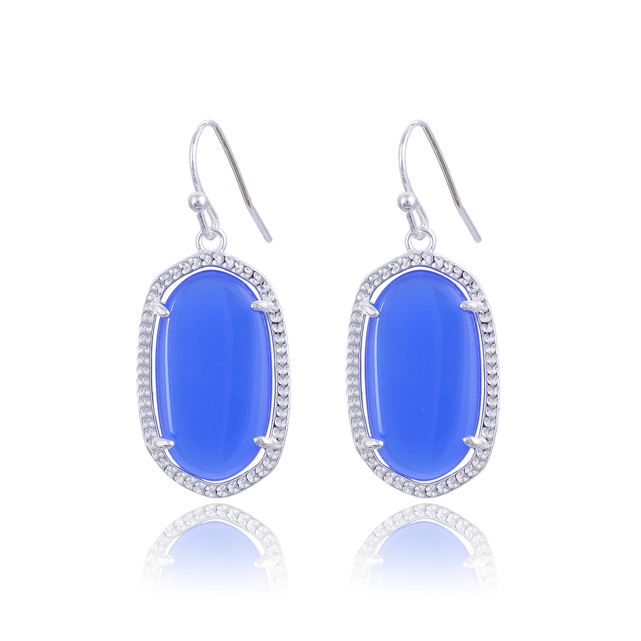 plated pmany jewelry blue sapphire platinum com dp classic pendant earrings cz bright bridal dangle amazon teardrop