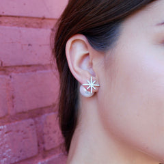 Northern Star Pearl Earrings in Sterling Silver and Pave