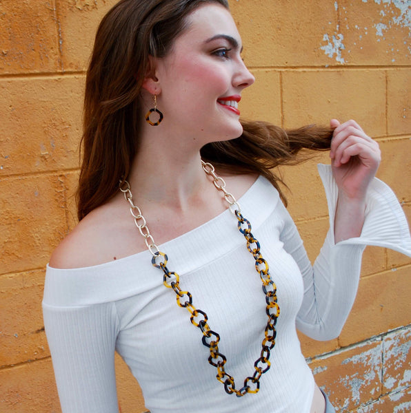 Tortoise and Gold Link Necklace and Earrings Set
