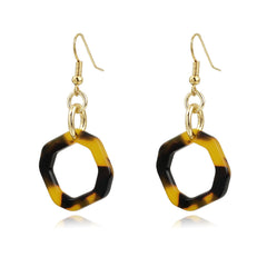 Tortoise and Gold Link Earring | VaVaVoo Jewelry