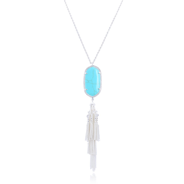 Pamela Silver Tassel Necklace with Turquoise Pendant