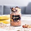 Yumi dark chocolate overnight oats with cashews and bananas