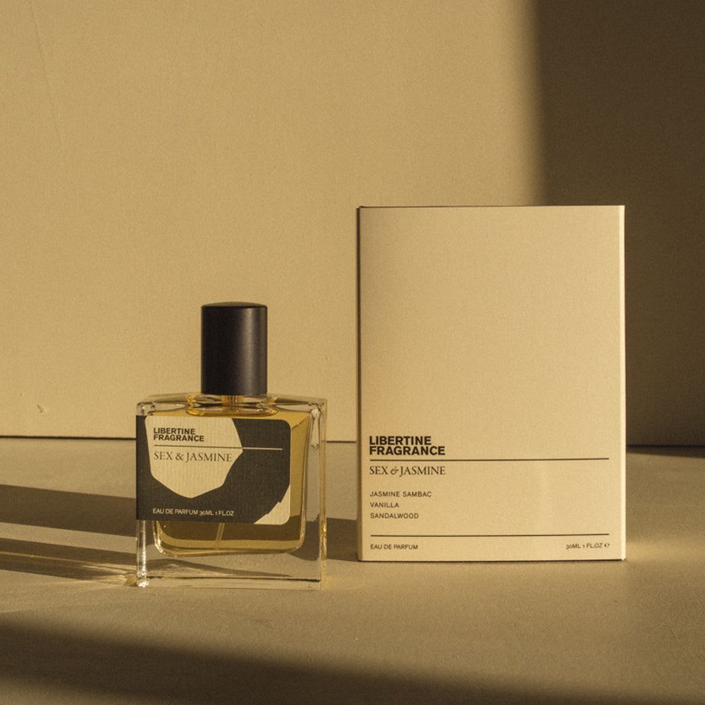 Jasmine perfume with minimal packaging