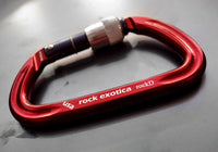 Rock Exotica Rock D Aluminum Carabiners Red Screw Lock Pacific Ropes
