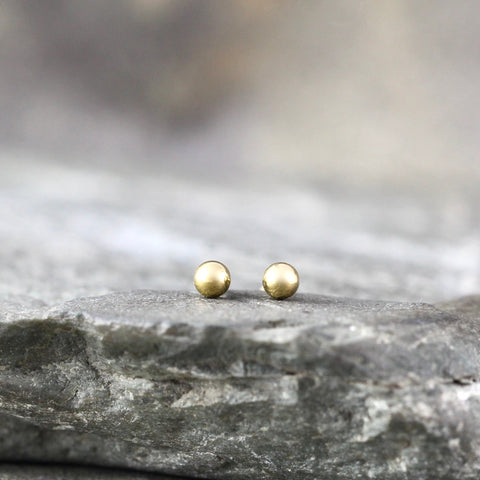 3mm Stud Earrings - Stainless Steel - Yellow