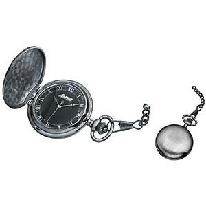 Pocket Watch with Black Dial and Chain - Engravable - Modern  Quartz Pocket Watch