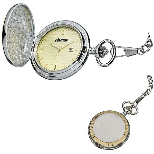 2 Tone Pocket Watch - Engravable - Modern  Quartz Pocket Watch