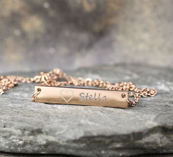 Personalized Necklace Bar - Engraved with YOUR NAME - Stainless steel in Yellow, White or Rose - Made in Canada