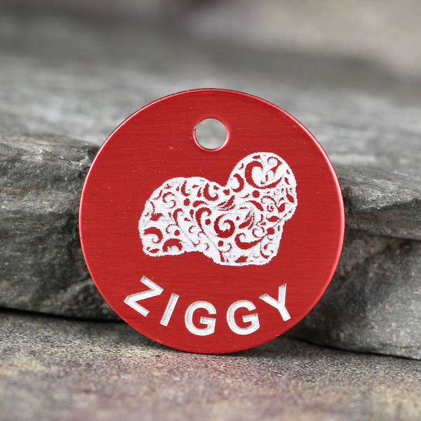 """Ziggy"" Dog ID Tag - Coton de Tulear dog tag - 3 sizes, 9 Colors - Laser Engraved with your Custom Text"