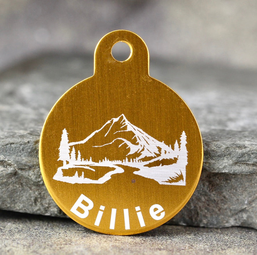 "Mountain ""Billie"" Dog ID Tag - 3 sizes, 9 Colors - Laser Engraved with your Custom Text"